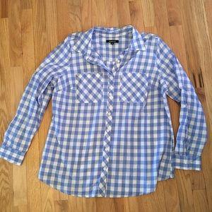 NWT Relativity blue plaid button down shirt 1x
